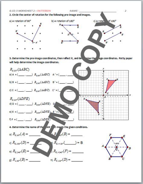 Geometry G Rotations Worksheet 1 by 28 Geometry G Rotations Worksheet 1 Geometry G