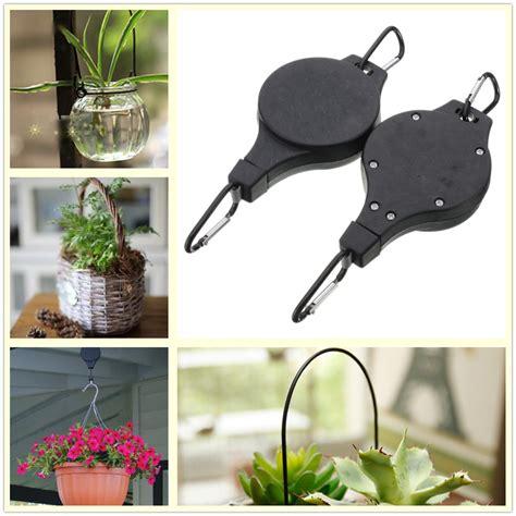 Retractable Pot Hanging Rack 2 X Hanging Basket Pull Hanger Retractable Pulley