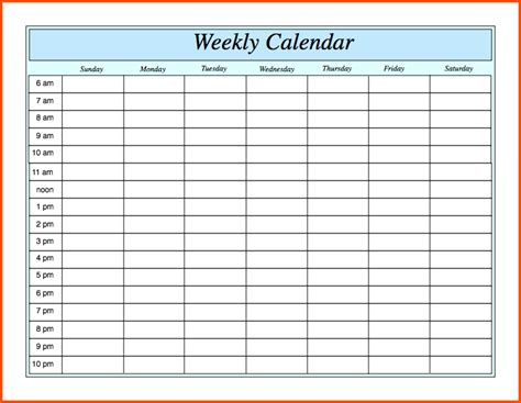 weekly calendar with hours weekly calendar template