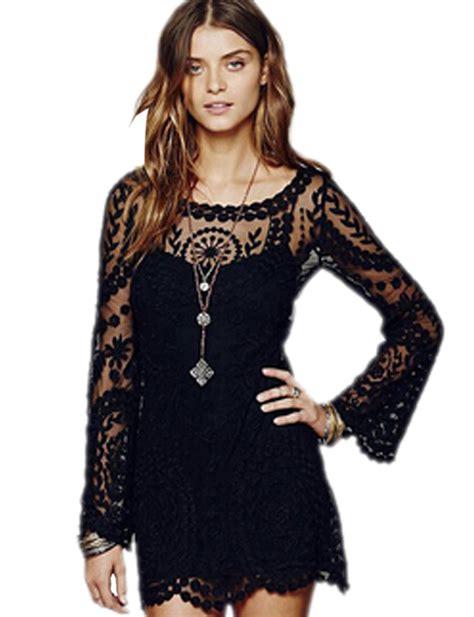 Dress Motif Mini Dress Flower Dress Summer Dress sheer see through lace floral pattern embroidery mini