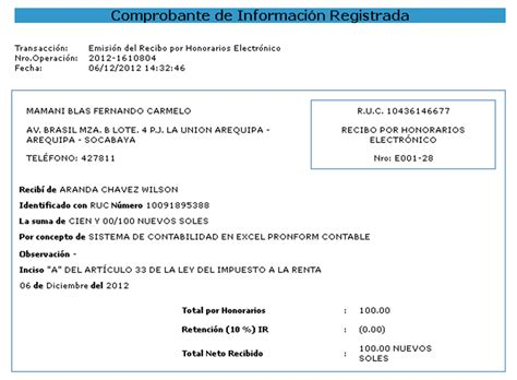monto recibos por honorarios 2016 blog contable recibo por honorarios electr 211 nicos