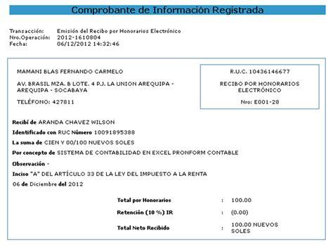 como calcular recibo de honorarios blog contable recibo por honorarios electr 211 nicos