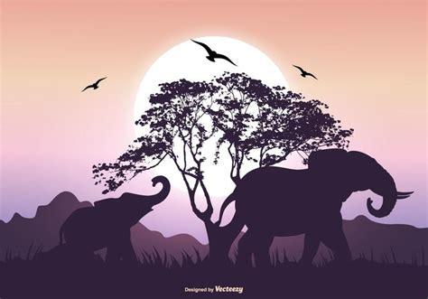 Elephant Silhouette Scene - Download Free Vector Art ...