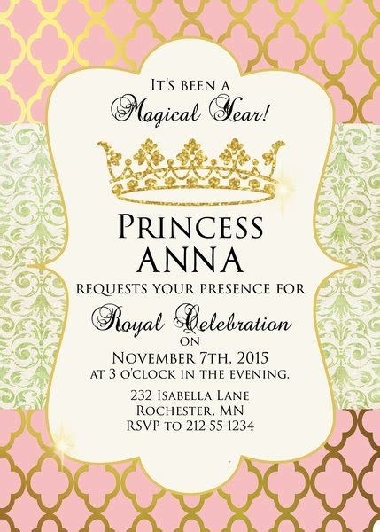 free princess tea invitation template pink and gold princess birthday invitation