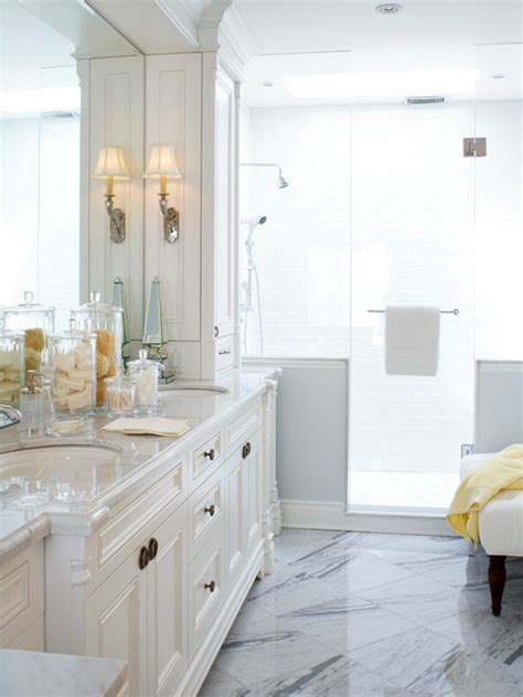 gorgeous white blue master bathroom design  marble