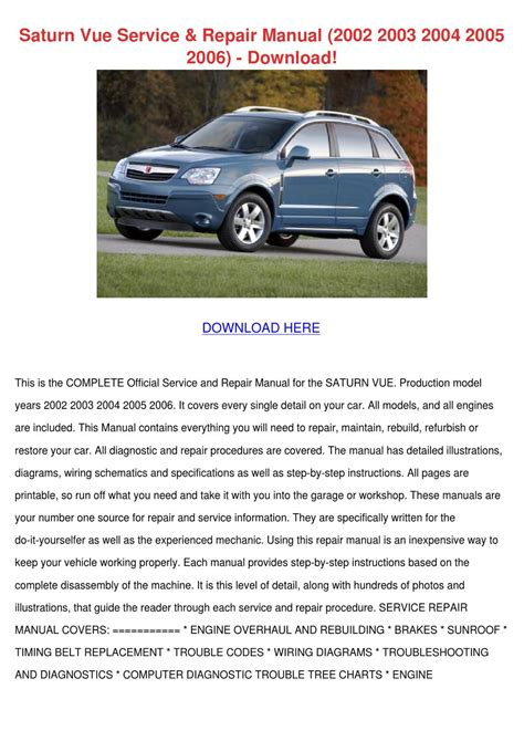 service repair manual free download 2002 saturn vue electronic toll collection saturn vue service repair manual 2002 2003 20 by lynnemarion issuu