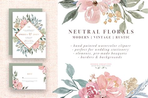 Rustic Coffee Mugs Neutral Watercolor Flowers Clipart Floral Borders