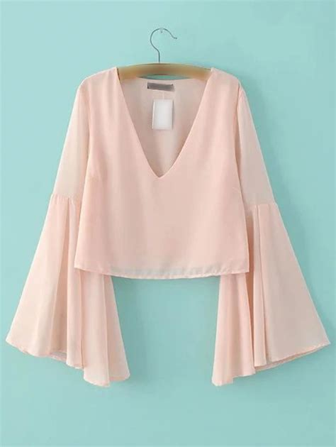 Sleeve V Neck Chiffon Top pink bell sleeve v neck chiffon blouse shein abaday