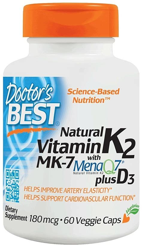 Doctor S Best Mk 7 Featuring Menaq7 Vitamin K2 100 Mcg 60 doctor s best vitamin k2 mk7 with menaq7 plus d3 180mcg 60 vcaps od綣ywki i