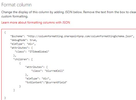 format json spfx column formatting using json blur field it idea