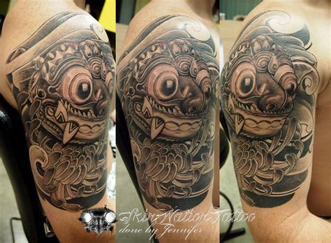 barong tattoo sleeve traditional barong mask tattoo on shoulder 187 tattoo ideas