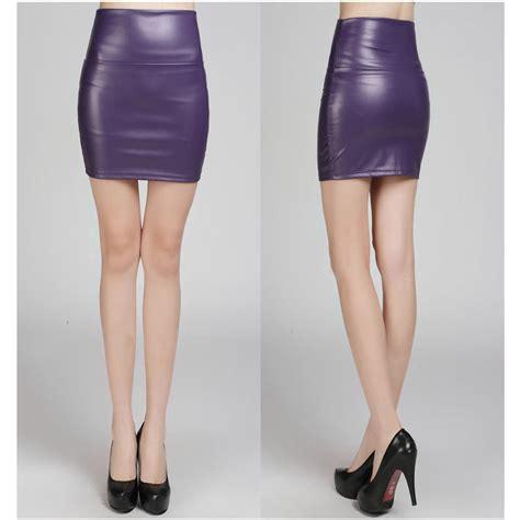 purple fashion pu faux leather skirt bodycon high waist