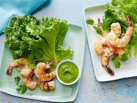 Decoration Sauce By Kimkim Shop grilled shrimp in lettuce leaves with serrano mint sauce
