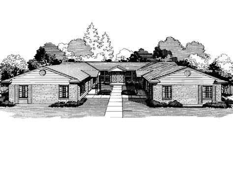 Williston Park Ranch Fourplex Plan 072d 0739 House Plans | williston park ranch fourplex plan 072d 0739 house plans