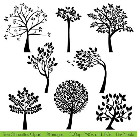 Tree Silhouettes Clipart Clip Art Family Tree Clipart Clip Art Commercial And Personal Use Family Tree Stock Vectors Vector Clip