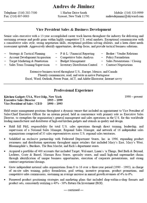 Sle Resume For Senior Business Development Manager Small Business Owner Resume Sle Sle Resumes