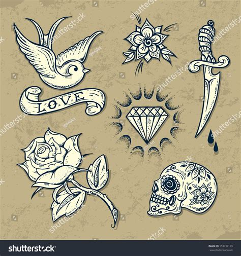 set old tattoo elements roses stock vector