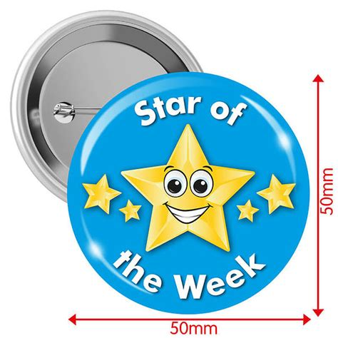 printable star of the week badge star of the week light blue 50mm button badge pack of 10