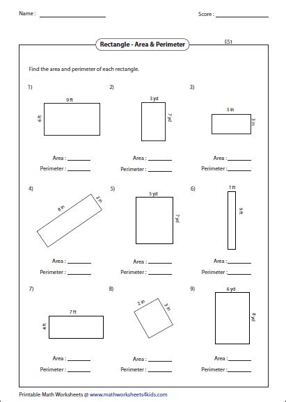 printable area and perimeter quiz rectangle worksheets