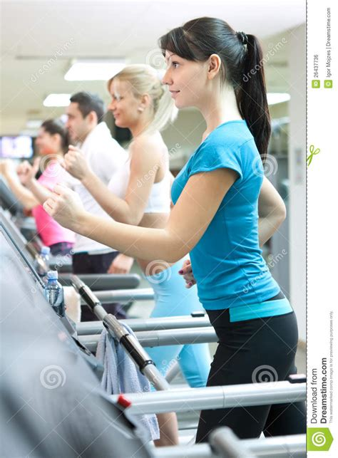 how to a to run on a treadmill in on treadmill running royalty free stock image image 26437736