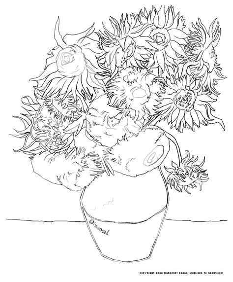 coloring pages of art masterpieces van gogh tournesols masterpieces coloring pages for