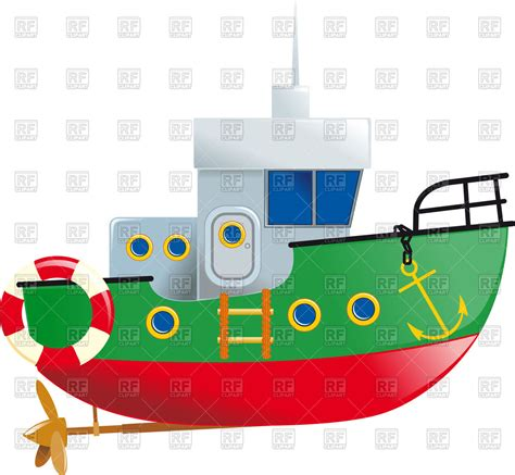 green boat cartoon cartoon small boat with lifeline and screw vector image