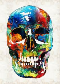 colorful skulls colorful skull aye by print