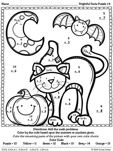 math skills coloring pages color by number codes addition halloween puzzles