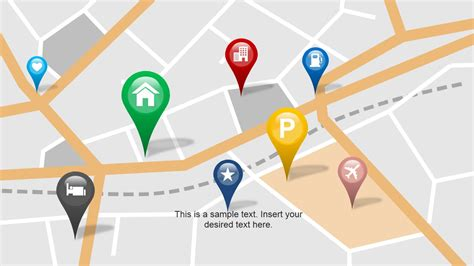 powerpoint templates location city powerpoint map with location markers slidemodel
