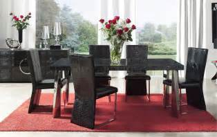 Black Formal Dining Room Sets Black Eco Leather Modern Formal Dining Room Table W Chrome