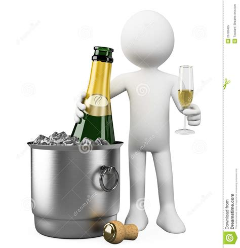 Wine Glasses by 3d White People Bottle Of Champagne In Bucket Royalty