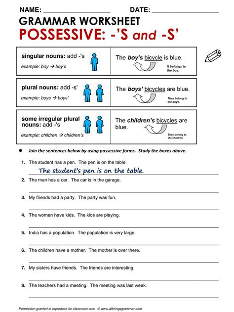 Grammar And Punctuation Worksheets by Possessive S And S Language Esl Efl Learn