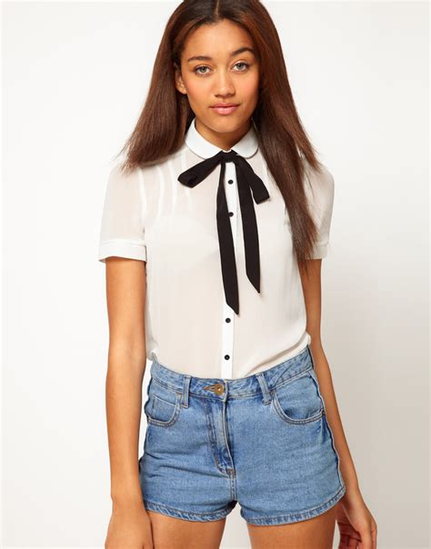 30029 White Tie Blous river island sleeve blouse with bow tie in white lyst
