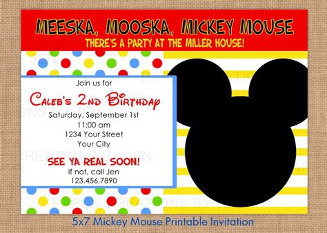 free mickey mouse invitation template free mickey mouse invitations printable
