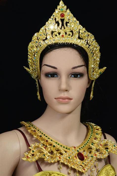 Simple Dress Rajut Bkk thai ramthai headdress tiara costume theater dress crown t8 ebay