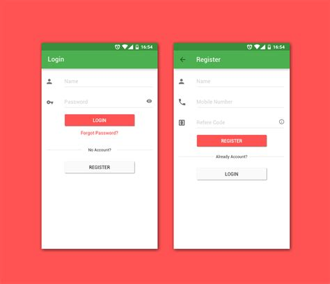 behance login material design login register on behance