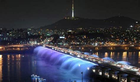 seouls banpo bridge  worlds longest bridge rainbow