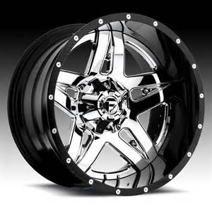 Custom Chrome Truck Wheels Fuel D253 Blown 2 Pc Chrome W Black Barrel Custom