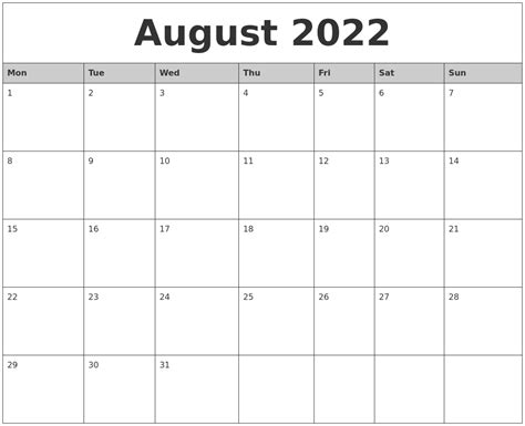 printable monthly calendar with pictures august 2022 monthly calendar printable