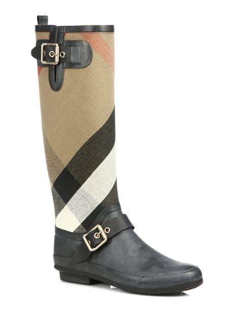 burberry boots burberry birkback check knee high boots in black lyst