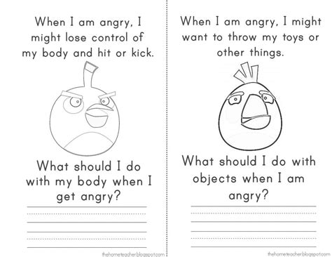 Angry Bird Anger Management Worksheets | anger management elementary school don t be an angry