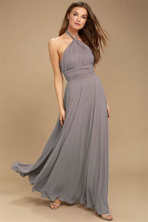 Dress Maxi Purple Elegan dusty purple dress maxi dress halter dress halter maxi 109 00