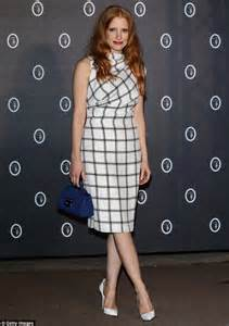 jessica chastain looks elegant in a patterned white dress