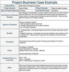 the project business case definition and example
