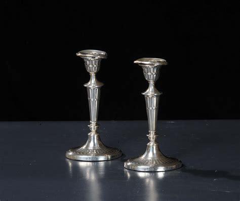 candelieri argento coppia di candelieri in argento inghilterra xix secolo