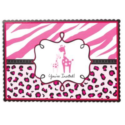 Safitri Pink pink safari baby shower invitations city