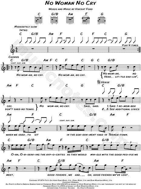 Graduation Mug Bob Marley Quot No Woman No Cry Quot Sheet Music Leadsheet In C Major Download Amp Print Sku Mn0118132