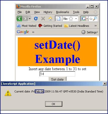 Javascript Tutorial Roseindia   javascript setdate method