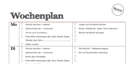 Wochenplan Haushalt Familie 4630 by Putzplan Wochenplan Todo Liste Zum H 228 Welm 228 Use