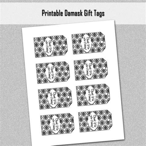 printable gift tags black and white custom black and white damask thank you gift tags